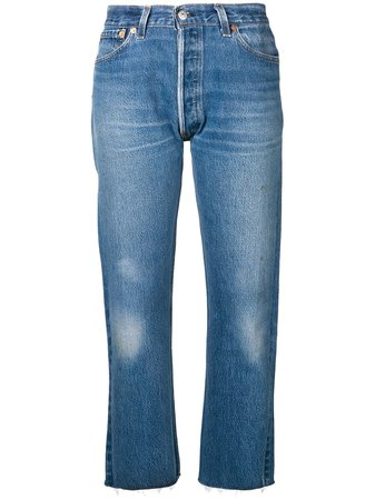 Shop blue RE/DONE Stove pipe denim cropped jeans with Express Delivery - Farfetch