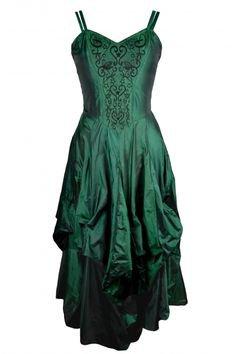 Dark Star Gothic Dress, Green Polysilk Floaty Goth Dress with Embroidery Detail