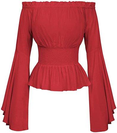 Women Off Shoulder Renaissance Peasant Blouse Pirate Boho Tops T Shirts S Kaki at Amazon Women's Clothing store