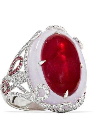 Martin Katz | 18-karat white gold multi-stone ring | NET-A-PORTER.COM