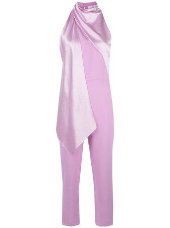 Purple Cushnie Draped-Detail Jumpsuit | Farfetch.com