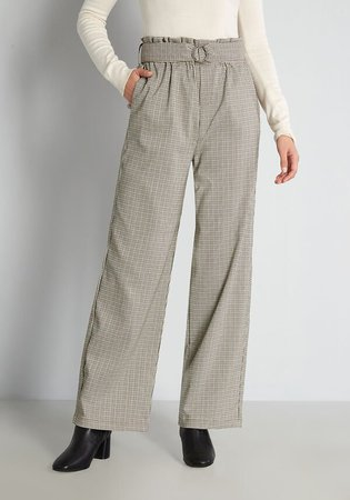 Oat Plaid to Be Here Wide-Leg Pants in Grey Plaid | ModCloth