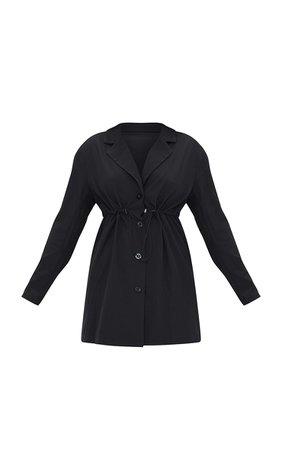 Black Woven Elasticated Waist Collared Shift Dress   PrettyLittleThing USA