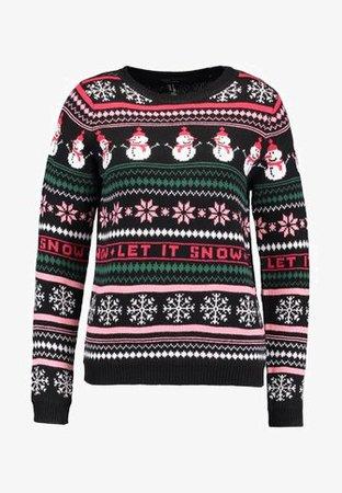 New Look CHRISTMAS FAIRISLE JUMPER - Stickad tröja - black - Zalando.se