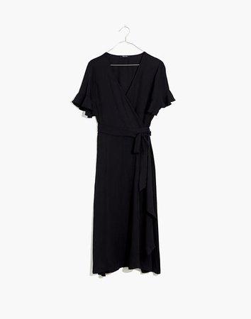 Women's Ruffle-Sleeve Wrap Dress in Black | Madewell