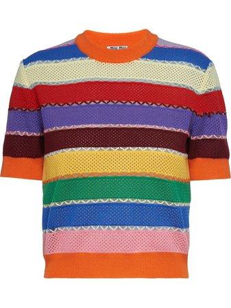 Miu Miu Striped short-sleeve Knitted Top - Farfetch