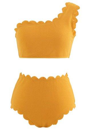 One-Shoulder Scalloped Bikini Set in Mustard - Retro, Indie and Unique Fashion