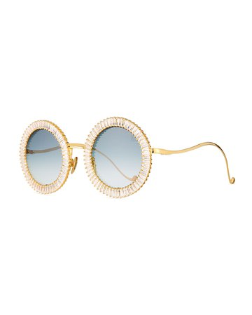 Anna-Karin Karlsson Magic You Round Sunglasses w/ Crystal Trim | Neiman Marcus