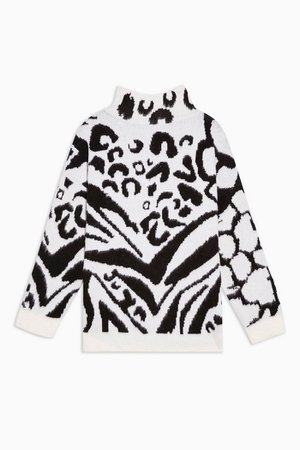 Black And White Mixed Animal Oversized Jumper | Topshop