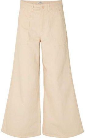 High-rise Wide-leg Jeans - Cream