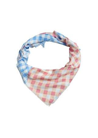 MANGO Gingham check printed scarf