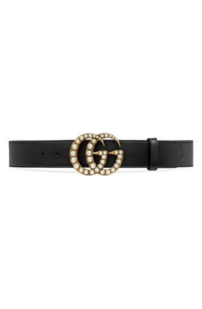 Imitation Pearl Double-G Leather Belt GUCCI