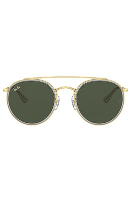 Ray-Ban Round Double Bridge in Gold & Green | REVOLVE