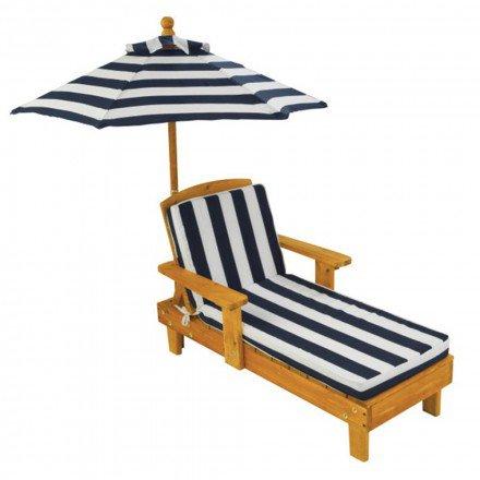 KidKraft Outdoor Chaise With Umbrella Navy - Garden Tables & Chairs - Outdoor