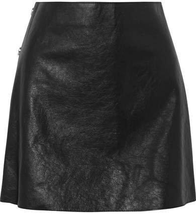 Textured-leather Mini Skirt - Black