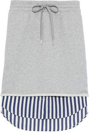 Layered French Cotton-terry And Striped Poplin Skirt