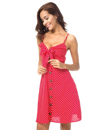 Button Knot Front Polka Dot Cami Dress