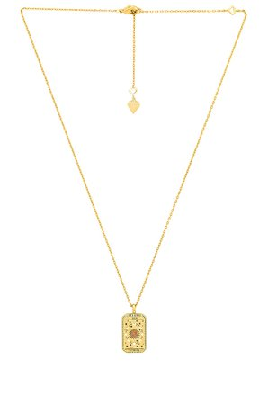 Wanderlust + Co Le Soleil Tarot Necklace in Gold | REVOLVE