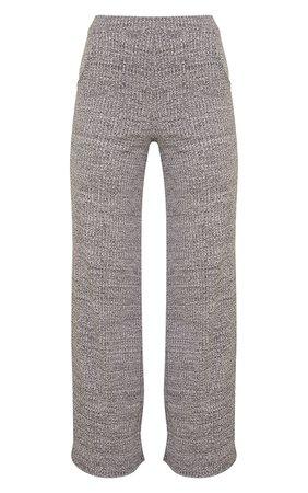 Grey Marl Ribbed Split Hem Wide Leg Pants | PrettyLittleThing USA