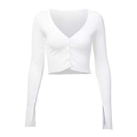 romeo ace paris button up split sleeve crop top in white and black @romeoaceparis on instagram