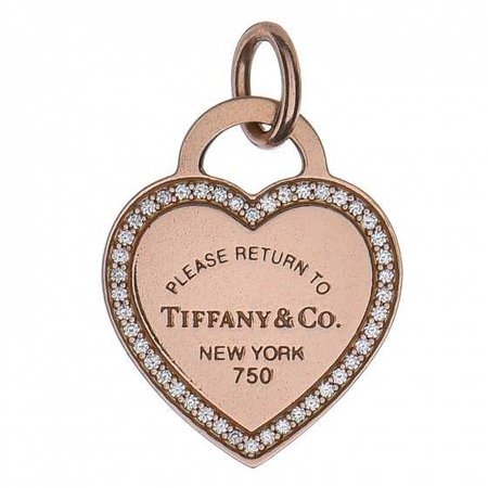 TIFFANY & CO 18K Rose Gold Diamond Return To Tiffany Heart Tag Pendant 261198