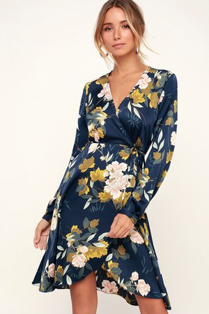 Cute Navy Blue Dress - Floral Print Dress - Floral Wrap Dress