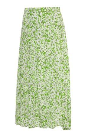 Faithfull The Brand Cuesta Floral-Print Crepe Midi Skirt Size: XL