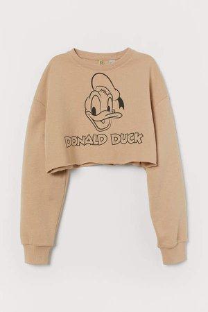 Cropped Sweatshirt - Beige