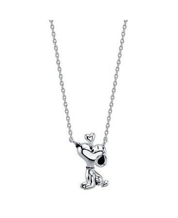 Peanuts Unwritten Snoopy Necklace in Fine Silver Plate & Reviews - Necklaces - Jewelry & Watches - Macy's