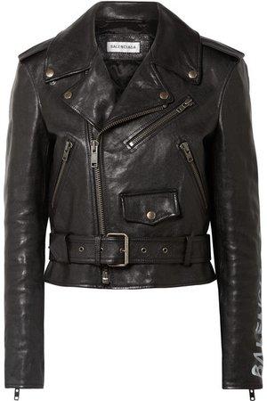 Balenciaga | Printed textured-leather biker jacket | NET-A-PORTER.COM