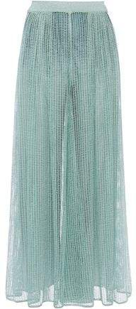 Metallic Open-knit Wide-leg Pants