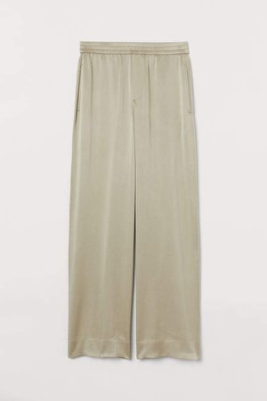 Wide-leg Silk Pants - Beige