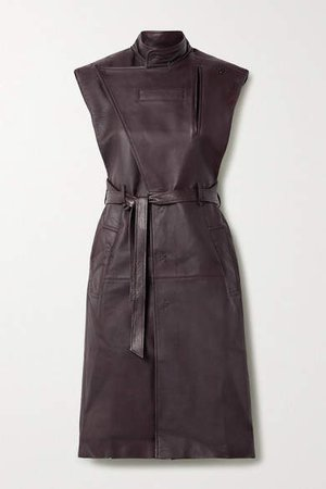 Belted Leather Trench Coat - Burgundy