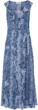 Lacey Ruffled Printed Silk-georgette Maxi Wrap Dress