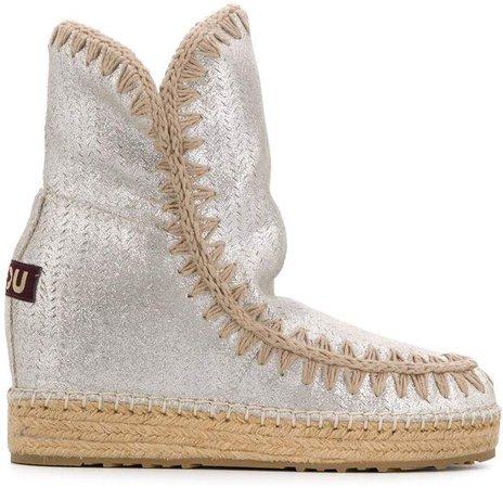 metallic wedge heel boots