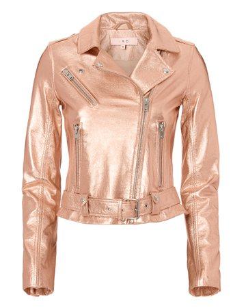 Rose Gold Leather Moto Jacket - IRO | INTERMIX®