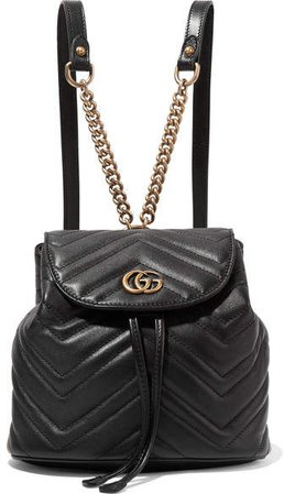 Gg Marmont Quilted Leather Backpack - Black