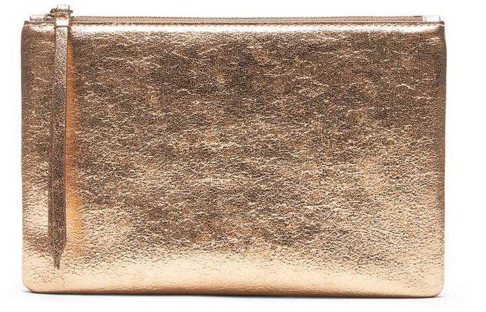 Metallic Vegan Leather Medium Zip Pouch
