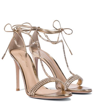 Gianvito Rossi, Embellished metallic leather sandals