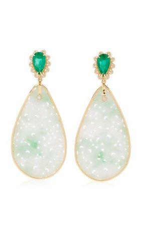 18k Yellow Gold Jade, Emerald, Diamond Earrings By Goshwara   Moda Operandi