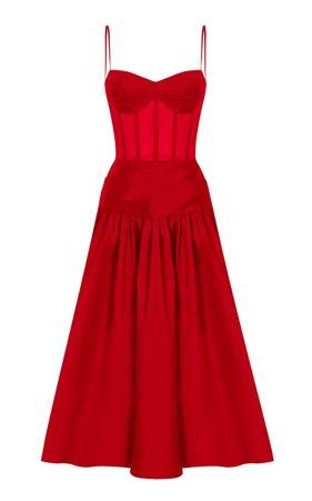 Pleated Silk-Blend Corset Dress by Rasario   Moda Operandi