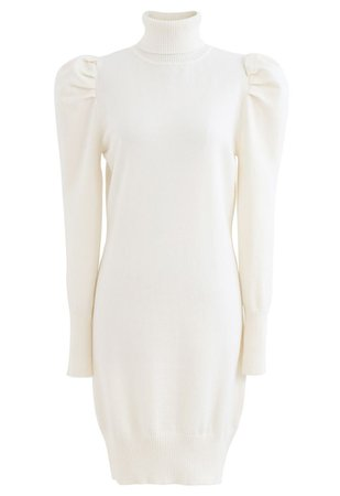 Bubble Shoulder Turtleneck Sweater Dress in White - Retro, Indie and Unique Fashion