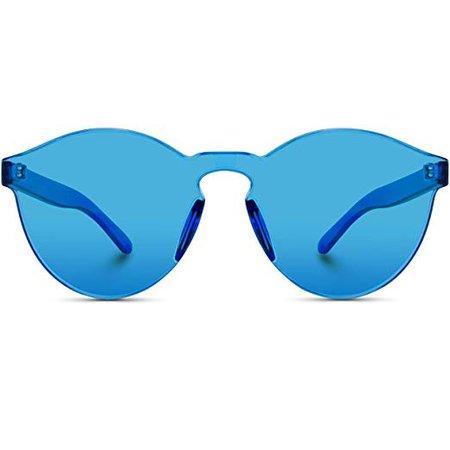 Amazon.com: WearMe Pro - Colorful Transparent Round Super Retro Sunglasses (Blue, 59): Gateway