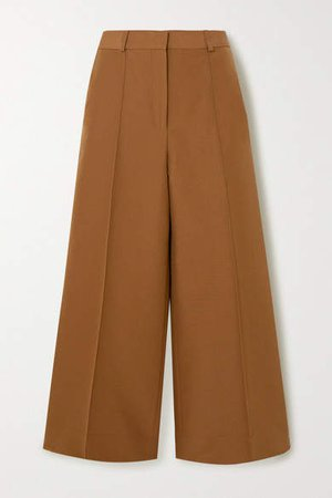 Victoria, Victoria Beckham - Cropped Cotton-blend Twill Wide-leg Culottes - Camel