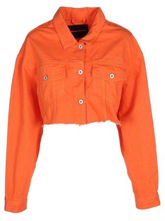 orange cropped jean jacket