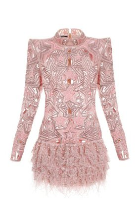 Embroidered Fringed Knit Dress By Balmain | Moda Operandi
