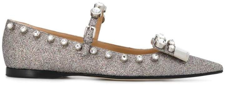 embellished glitter ballerinas