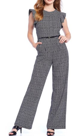 Calvin Klein Houndstooth Ruffle Sleeve Belted Jumpsuit