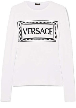 Embroidered Stretch-jersey T-shirt - White