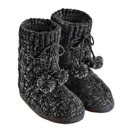 Collections Etc. - Lurex Cable Knit Slipper Boots with Fleece Lining, Fun Pom Poms, Extra Warm and Flexible, Mid-Calf - Walmart.com